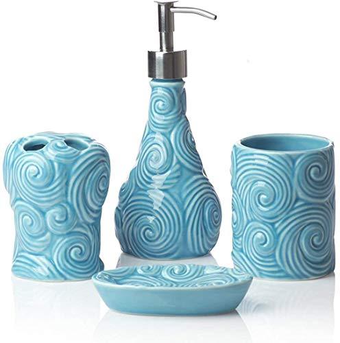 Comfify Designer 4-teiliges Keramik-Bad-Zubehörset | Inklusive Flüssigseife oder Lotionspender mit Zahnbürstenhalter, Becher, Seifenschale | Marokkanisches Gitter |