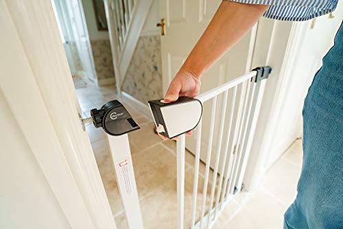 color blanco adecuado como puerta de beb/é y puerta de mascotas Callowesse/® Kemble Puerta de seguridad con ajuste a presi/ón indicadores de bloqueo de seguridad rojo//verde Talla:75-82cm