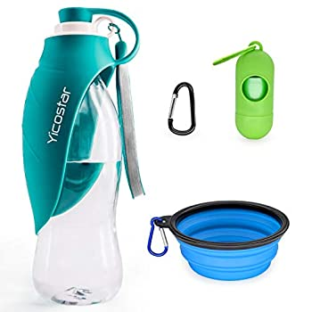 Yicostar Dog Water Bottle for Walking 20 OZ Travel Pet Water Bottle with Collapsible Dog Bowl and Potty Waste Bag for Dogs Portable Dog Water Dispenser for Hiking Parking and Outdoor