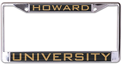 Wincraft Howard University Premium License Plate Frame, metal with inlaid acrylic, 2 mount holes, black