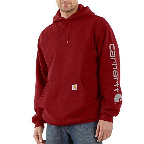 Carhartt, felpa Signature con cappuccio e logo sulla manica, pesantezza media, K288, M, Dark Crimson, 1