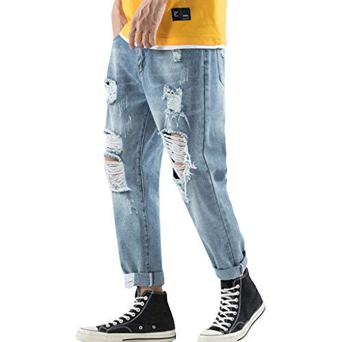 Oliviavan Pantaloni Jeans Sciolto Distrutti Pantaloni Strappati Jeans Sfilacciati Pantaloni da Tempo Bermuda Estate Sportiva Traspirante Estiva Moda di Strada per Adolescenti e Ragazzi