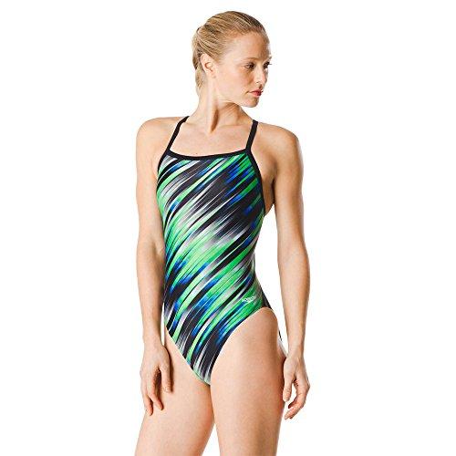 Speedo Women's Swimsuit One Piece PowerFlex Flyback Striped Adult Reigning Blue/Green, 30