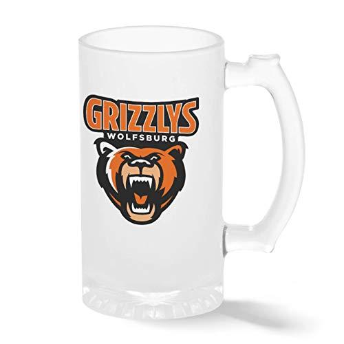 Grizzlys Wolfsburg Eishockey Mannschaft Teamgeschenk Pint Glasbecher Gefrosteter Transparenter Stein Mug | Neuheit Krug für Bier Perfektes Geschenk 500ml