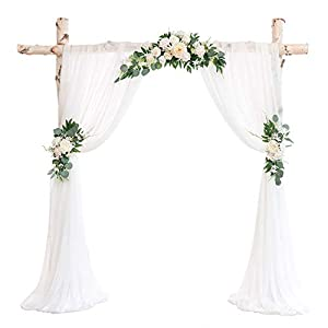 Ling's moment Artificial Wedding Arch Flowers Kit(Pack of 5) – 3pcs Ivory Greenery Aobor Floral Arrangement with 2pc Semi-Sheer Swag for Ceremony and Reception Backdrop Decoration
