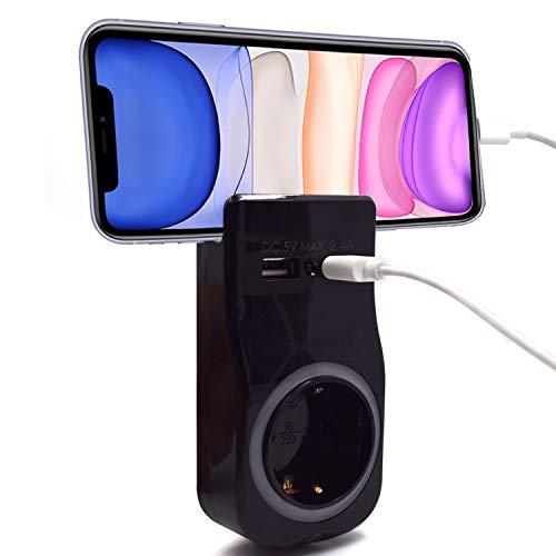 Welly Enjoy IT WY13030 - Adaptador de Pared 1 Enchufe Schuko 16A con luz Nocturna, Soporte para teléfono Inteligente/Tableta, 2 Puertos USB e indicador LED