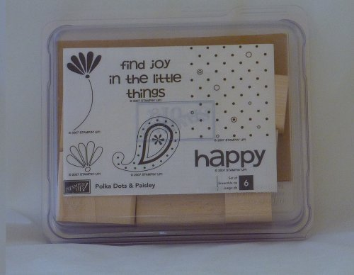 Stampin' Up! POLKA DOTS & PAISLEY Set of 6 Decorative Rubber Stamps Retired by Stampin' Up