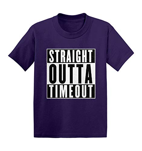 Haase Unlimited Straight Outta Timeout – Camiseta infantil de algodão para criar problemas, Roxa, 3T