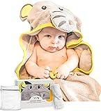 Jumpy Moo's Bio Baby Badetuch   100% Bambus, Bonus Babywaschlappen & Wäschesack   Neugeborene, Säuglinge & Kleinkinder (Glücklicher Elefant)