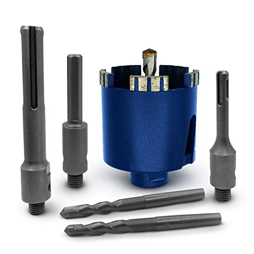 SEDION  Drill Bit 82 mm - Extra Large Set with SDS Plus, SDS Max & Hexagonal Adapter - Drill Bit for Drilling Masonry - Diamond Core Bit - Premium Quality - Diamond Core Drill Bit 82