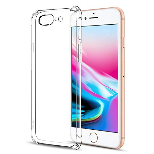 Amonke Funda para iPhone 7 Plus 8 Plus, Ultra Fina Silicona Transparente TPU Carcasa Protector Airbag Anti-Choque Anti-arañazos Suave Claro Caso para Teléfono iPhone7 iPhone8 Plus 5,5