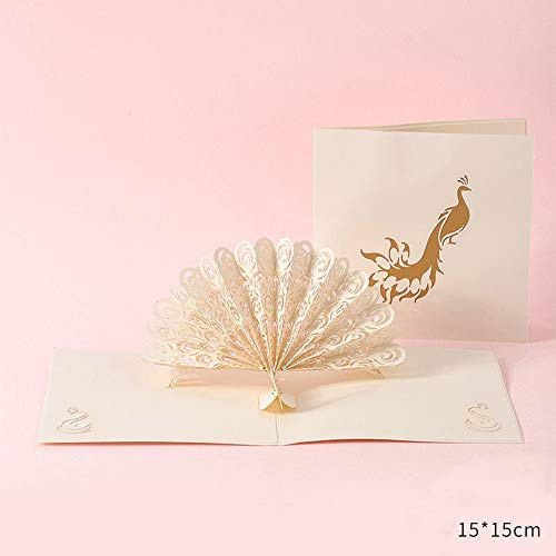 Mothers Day Greeting Card Creative Personality 3D Stereo Blessing Card Birthday Card (White peacock)