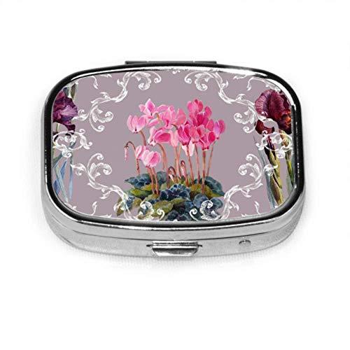 Caja de pastillas Patrón floral Flores de estilo barroco Caja de pastillas linda Píldora diaria Portátil para monedero de bolsillo Maletín Caja de pastillas de viaje