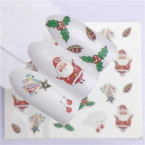 SRTYH Autocollant d'ongle Nail Art Nail Sticker Year Slider Tattoo Christmas Water Decal Snowman Designs Decals Make Nails More Beautiful BA