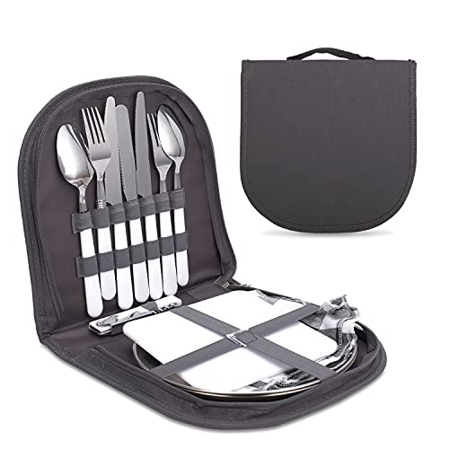 Camping Cutlery Set,Camping Silverware Kit Cutlery Organizer Utensil Picnic Mess Set,Travel Camping Portable Fork Spoons Plate Cutlery Set for Hiking, Picnic and Backpacking, Perfect for 1-2 Person