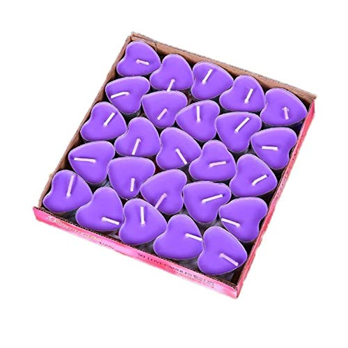 GADHNN 50Pcs Love Heart Shaped Tealight Candles Smokeless Small Candle for Valentine's Day Confession Proposal Decoration Household Supplies (Color : Purple)