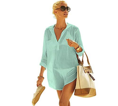 Frauen Kimono Bluse Beachwear Bikini vertuschen Bademode Badeanzug V-Ausschnitt Strand Badekleid und Kaftan Bluse für Damen (Mintgrün, XL)