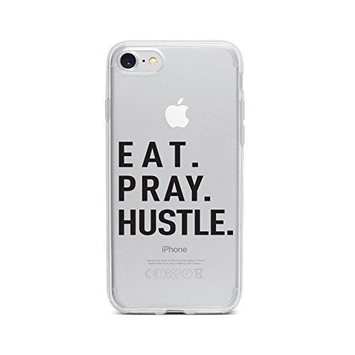licaso Handyhülle kompatibel für Apple iPhone 8 I Schutzhülle aus TPU mit Eat. Pray. Hustle. Print I Transparente Hülle Handy Aufdruck I Weich Silikon Durchsichtig