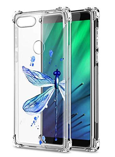 Suhctup Compatible con Xiaomi Redmi K30/K30 Pro Funda para Silicona con Dibujos Animados Diseño Cárcasa Ultra-Fina Transparente Suave TPU Choque Cojín de Esquina Parachoque Caso-Libélula Azul