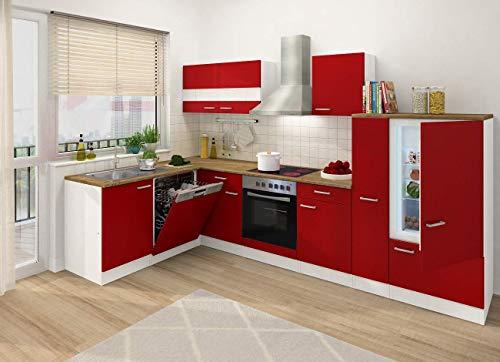 respekta Winkelküche Küchenzeile L-Form Küche Einbauküche rot 310 x 172 cm
