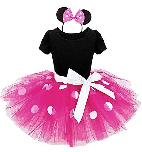 Fuxia - talla 90-2 años - vestido - disfraz - minnie - mouse - leotardo - tutú - tul - diadema - carnaval - halloween - cosplay - accesorios - niña - regalo minnie