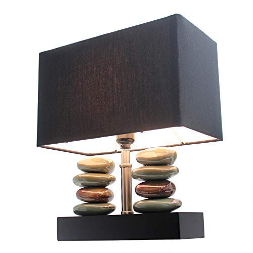 Elegant Designs LT1036-BLK Rectangular Dual Stacked Stone Ceramic Table Lamp, 14.5″ x 12″ x 6.3″, Black