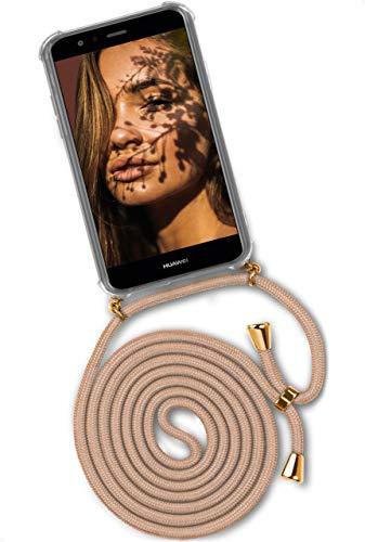 ONEFLOW Twist Case kompatibel mit Huawei P10 Lite - Handykette, Handyhülle mit Band zum Umhängen, Hülle mit Kette abnehmbar, Gold Beige