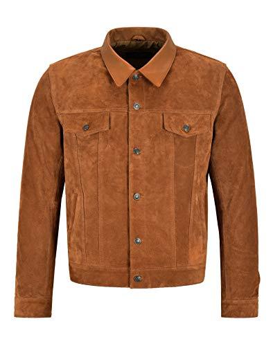 Smart Range Chaqueta de Cuero de Camionero para Hombre Chaqueta de Ante marrón Claro en un clásico Estilo de Camisa Occidental 1275