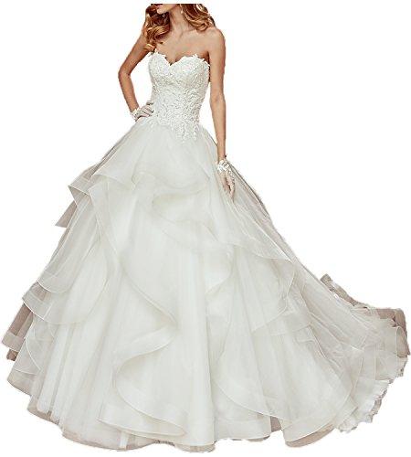 Topkleider Damen Romantisch Neu Traegerlos Spitze Herzform Brautkleider Lang Hochzeitskleider-38-Weiss