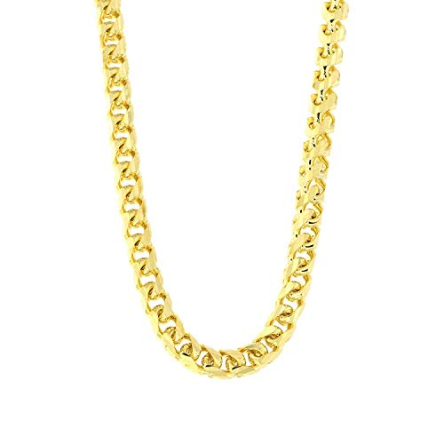14K REAL Yellow Gold 5.00mm Shiny SOLID Diamond-Cut Round Franco Chain Necklace Or Bracelet for Pend