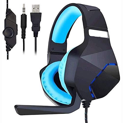 Big Shark PS4 Stereo gaming headset – met microfoon, volumeregeling en led-koeling, compatibel met pc, laptop, smartphone, oortelefoon