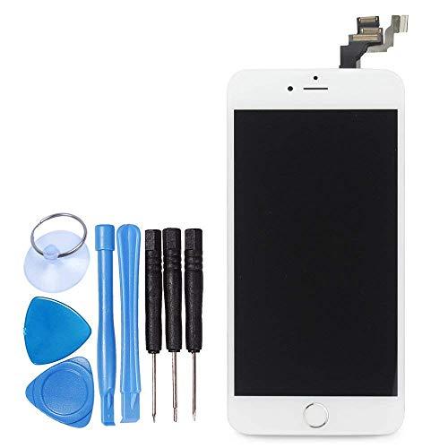 LL TRADER Pantalla para iPhone 6 Plus Blanca, Táctil Retina LCD Repuesto Ensamblaje de Marco Digitalizador con Botón de Inicio + Cámara Frontal + Sensor de Proximidad + Altavoz + Herramientas