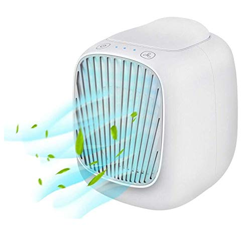 Portable Portable Cooling Air Conditioner, USB Air Cooler, 3 in 1 Mini Mobile Personal Space Cool Air Ultra, Humidifier, Purifier and 7 Colors LED Night, Desktop Cooling Fan for Home, Office Air Coole