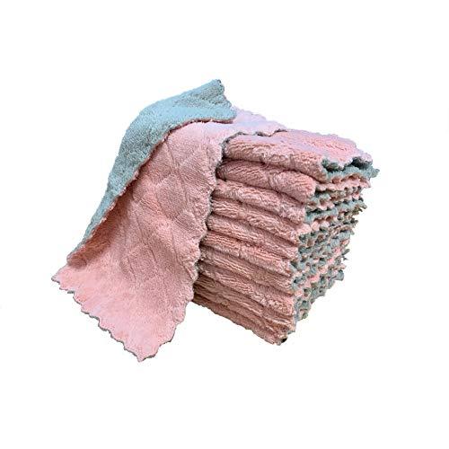 Green-Grey Premium Dishcloths kimteny 12 Pack Kitchen Cloth Dish Towels Super Absorbent Coral Velvet Dishtowels Nonstick Oil Washable Fast Drying