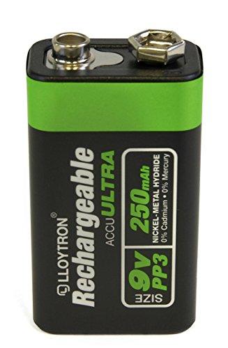 Lloytron ACCU ULTRA PP3 9V Rechargeable Battery Ni-Mh 250mAh - 1 Pack