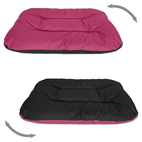 BedDog® 2in1 hondenmand REX dubbelzijdig ovaal hondenkussen, grote hondenbed, hondensofa, wasbaar, XXL roze/zwart