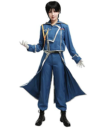 miccostumes Men's Roy Mustang Cosplay Costume Military Uniform Outfit Extra Large Blue