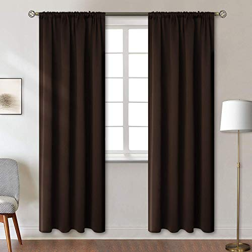 Room Darkening Thermal Insulated Blackout Tab/ Rod- Pocket Curtains for Bedroom - Living Room {Set of 2 Panels} Chocolate, 42 x 95 Inch