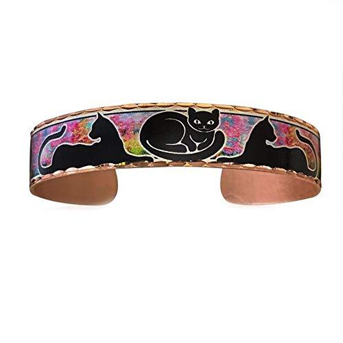 Colorful-tres pulseras de gatos negros para mujeres y niñas, joyería ajustable hecha a mano de cobre con fondo rosa y verde