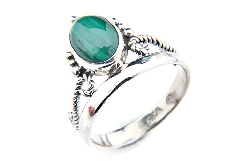 Ring Silber 925 Sterlingsilber Malachit grün Stein (Nr: MRI 89), Ringgröße:50 mm/Ø 15.9 mm