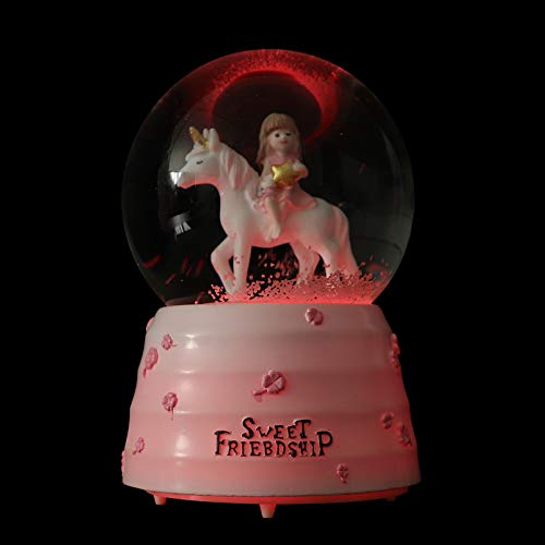 Amosfun Caja musical bola de nieve resina luz up Unicron Figurine bola de cristal decorativa...
