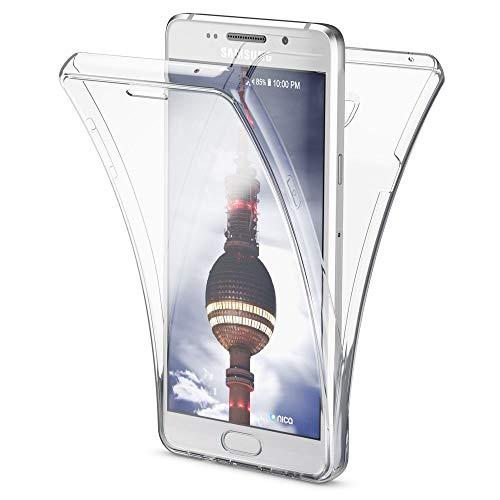 NALIA 360 Grad Handyhülle kompatibel mit Samsung Galaxy A3 2016, Full Cover Vorne und Hinten R&um Schutz Hülle, Slim Ganzkörper Silikon Hülle, Transparenter Bildschirmschutz und Rückseite - Transparent