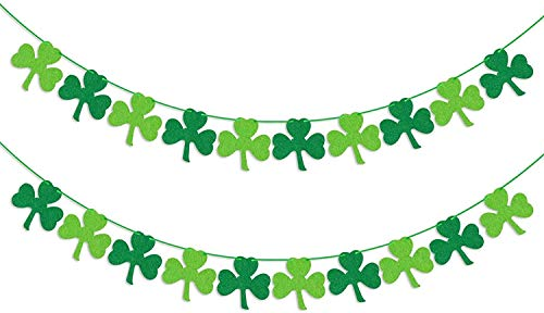 St Patricks Day Decorations Hanging Shamrock Decor Felt Shamrock Clover Garland Banner Irish Day Party Supplies for Mantel Fireplace Spring Holiday Accessory Indoor Outdoor Green Decor 2 Pack