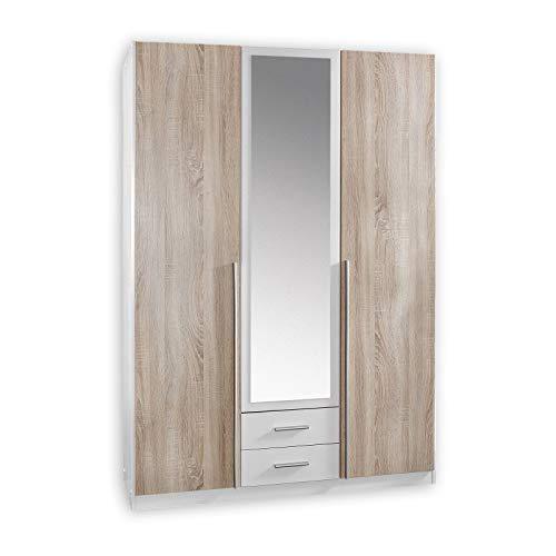 Wimex Kleiderschrank/ Drehtürenschrank Skate, 3 Türen, 2 Schubladen, 1 Spiegel, (B/H/T) 135 x 197 x 58 cm, Weiß/ Absetzung Eiche Sägerau