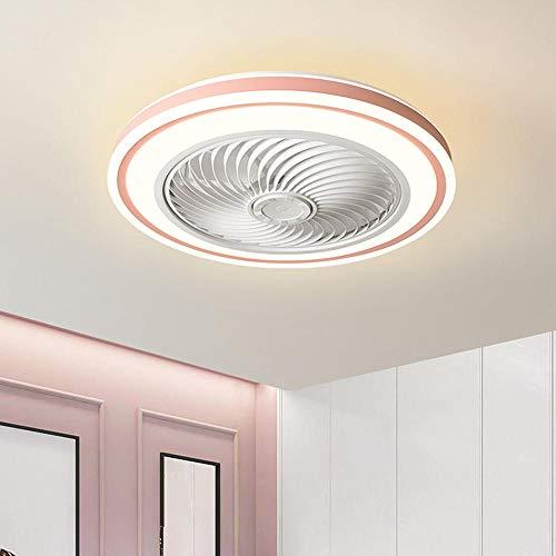 Ventilador de techo LED con luz, 72W 22'instalación empotrada moderno ventilador de techo de bajo perfil, candelabro de dormitorio de velocidad ajustable con atenuación remota-Rosa