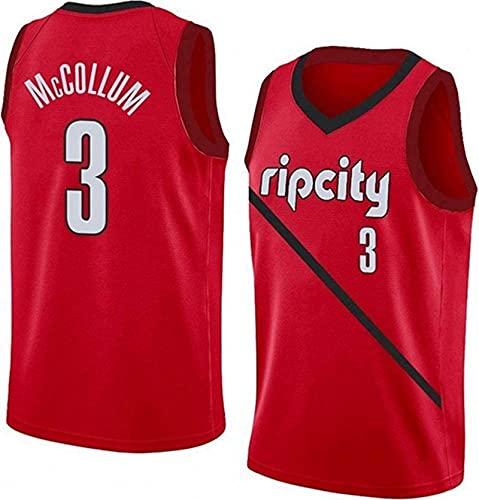 Lajx Maillot de baloncesto para hombre al aire libre McCollum Sports de secado rápido de la competencia #3 Red Jersey