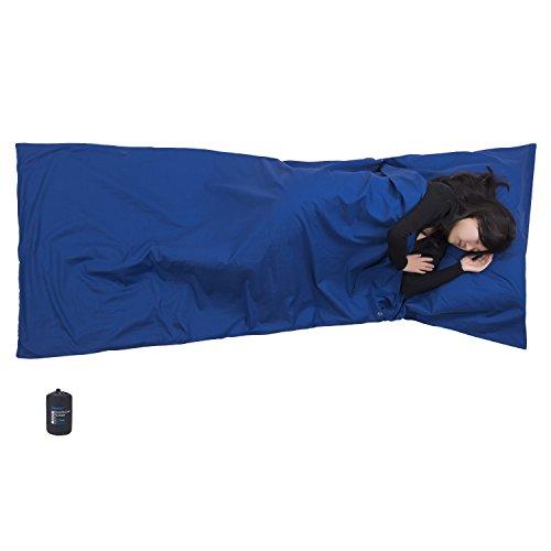 BROWINT Hüttenschlafsack aus Baumwolle, Reiseschlafsack mit Kissenfach, Schlafsack Inlett für Hostels, Berghütten und Jugendherbergen, Inlay leicht & Atmungsaktiv, Travel Sheet