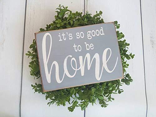 Yilooom Het is zo goed om thuis te zijn, Rustiek hout huisteken, moderne Boerderij muur decor, Nieuwe huis geschenken, Huiswarming gift ideeën, voordeur decor