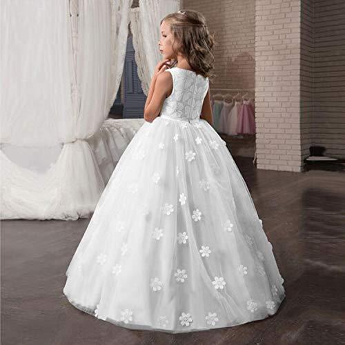 TTYAOVO Chicas Princesa Flor Vestir Hinchado Danza Pelota Tul Vestidos 6-7 años(Talla130) 363 Blanco