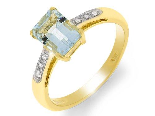 Bague - 124R0690-06/9AM - P - Anillo de mujer de oro amarillo (9k) con aguamarinas y diamantes